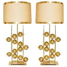 italian contemporary fine design pair of organic gold brass lamps