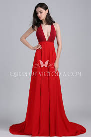 red plunging a line amy adams golden globes formal prom dress