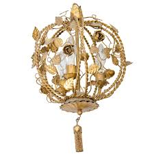 petite chandelier vintage brass petite flower and leaf motif chandelier for sale at