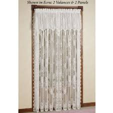 White Lace Shower Curtain With Valance by Easy Style Carly Lace Curtain Panel With Attached Valance