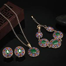 bridal earrings bracelet sets images N fashion women turkish jewelry sets collares resin pendant jpg
