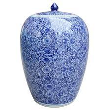 white ginger jar l decor cluster flower chinoiserie ginger jar blue white nyc
