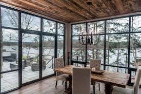 Windows To The Floor Ideas Contemporary Cabin Dining Room With Floor To Ceiling Windows