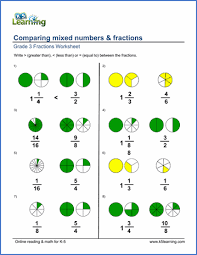 comparing and ordering fractions and mixed numbers worksheet grade 3 fractions and decimals worksheets free printable k5