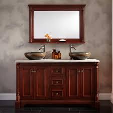 sophisticated double sink bathroom vanities carrera marble top two