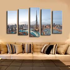 Dubai Home Decor 5pcs Khalifa Tower Dubai Best Hotels Wall Painting For Home Decor