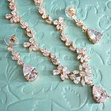wedding necklace bridal images Rose gold cubic zirconia bridal jewelry set cz crystal wedding jpg