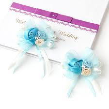 wrist corsage supplies 12pcs lot satin corsage flower handband wedding events