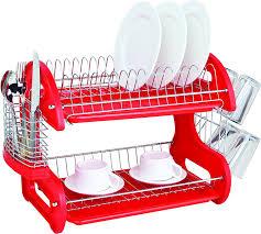 Plastic Dish Drying Rack Amazon Com Home Basics Dish Plastic Drainer 2 Tier Red Dish