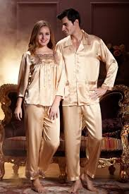 his hers matching couples luxury silk pajamas sets sleeve
