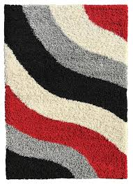 Modern Stripe Rug by Amazon Com Soft Shag Area Rug 3x5 Geometric Striped Red Grey