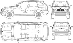 2004 bmw x5 e53 suv blueprints free outlines