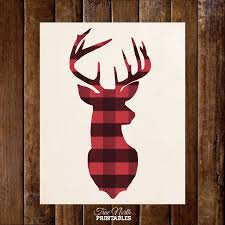 deer head antlers in buffalo plaid by truenorthprintables on etsy