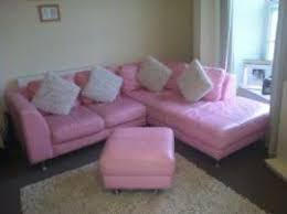 transport a pink leather dfs corner sofa with matching foot to