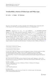 groupe zannier si e social irreducibility criteria of schur type and pdf available