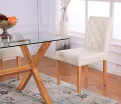 Oak Top Dining Table Extendable Rectangular Tempered Glass Top Dining Table Furniture