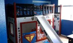 cool kids bedroom with superhero wall decals combined wooden bunk author