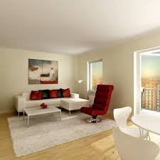 gorgeous red accents at apartment living room ideas combined with