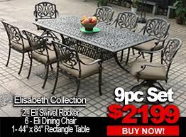 Swivel Patio Chairs Sale Patio Furniture Sale Elisabeth 9pc Set With 2 Swivel Rocker 6