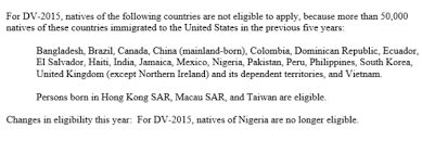 nigerians not qualified to apply for us visa dv lottery 2015