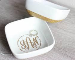 Custom Monogram Rings Decorative Trays Etsy