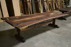 live edge outdoor table buy a hand made live edge bookmatched walnut table with trestle base