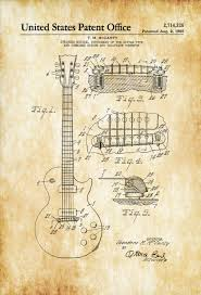 electric guitar patent patent print wall decor music poster