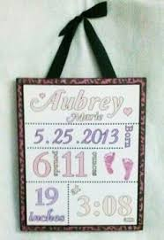 Baby Plaques Personalized Newborn Wooden Baby Signs Birth Information Plaque By Tkwoodcrafts