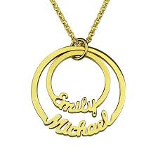 childs name necklace wholesale gold color personalized two circle names necklace family