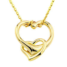 double gold pendant necklace images 14k yellow gold double heart pendant necklace 16 jpg