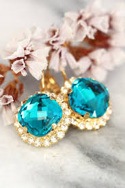 turquoise bridal earrings teal swarovski bridal earrings by ilona rubin bridal turquoise