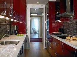 kitchen design modern small narrow red kitchen design with metal