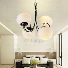 Chandelier Glass Globes 4 Light Globe Glass Shade Modern White Chandelier