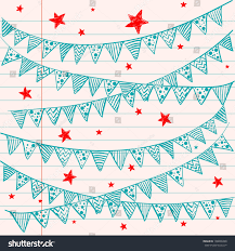 bunting flags on lined notebook paper stock vector 108800498