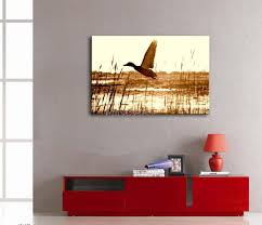 canvas painting for home decoration amazon com oyeo canvas art brown wall art painting duck fly upon