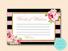 bridal shower words of wisdom cards words of wisdom cards advice cards pink and gold bridal