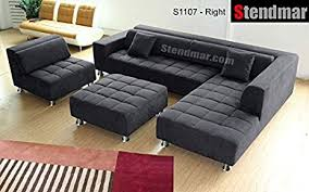 Microfiber Sectional Couch With Chaise Amazon Com 4pc Modern Dark Grey Microfiber Sectional Sofa Chaise
