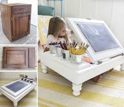 how to make a child s desk how to make a flip top cupboard door desk repurposing paint