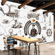 free shipping industrial wind 3d mural retro wallpaper leisure bar