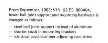 aluminum ball joint replacement my78 83 technical bulletin tsb