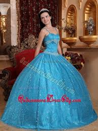 quinceanera dresses with straps spaghetti straps sequined beading blue dresses for quinceaneras