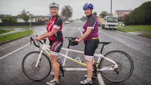 Blind Man Rides Bike Blindness No Barrier For Tandem Bikers Gearing Up For Mountain