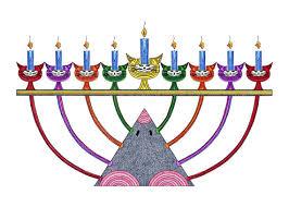 cat menorah hanukkah card cat card greeting card cat cards