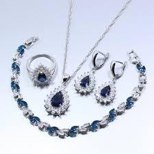 free set bracelet images Manny della blue created gem 925 silver 4pcs jewelry set earring jpg