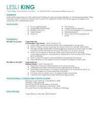 yoga resume cover letter