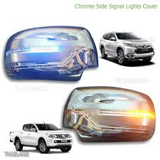 triton mitsubishi 2017 l r chrome led indicator mirror cover fits mitsubishi l200 triton