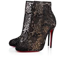 christian louboutin miss tennis net lace red sole bootie black