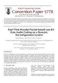 aes e library real time wavelet packet based low bit rate audio