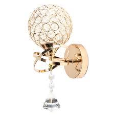 single head silver golden crystal wall light lamp fixture sconce