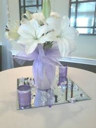 Purple Centerpieces Mirror Centerpiece With Single Flower Arrangements Photo By Studio